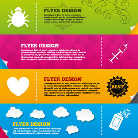 acarus: Flyer brochure designs. Bug and vaccine syringe injection icons. Heart and spray can sign symbols. Frame design templates. Vector