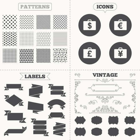 diplomat: Seamless patterns. Sale tags labels. Businessman case icons. Cash money diplomat signs. Dollar, euro and pound symbols. Vintage decoration. Vector