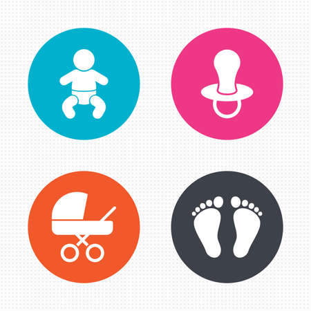 Kreis-Schaltflächen. Baby-Kind-Icons. Kleinkind Junge mit Windeln Symbol. Buggy und Dummy-Zeichen. Kind Schnuller und Kinderwagen Kinderwagen. Child Footprint Schritt Zeichen. Nahtlose Quadrate Textur. Vektor Vektorgrafik