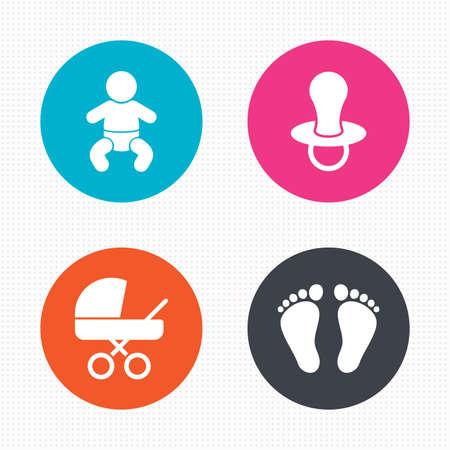 wc: Kreis-Schaltflächen. Baby-Kind-Icons. Kleinkind Junge mit Windeln Symbol. Buggy und Dummy-Zeichen. Kind Schnuller und Kinderwagen Kinderwagen. Child Footprint Schritt Zeichen. Nahtlose Quadrate Textur. Vektor Illustration