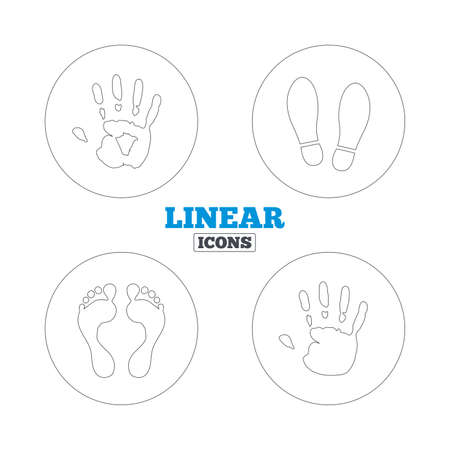 do not enter sign: Hand and foot print icons. Imprint shoes and barefoot symbols. Stop do not enter sign. Linear outline web icons. Vector