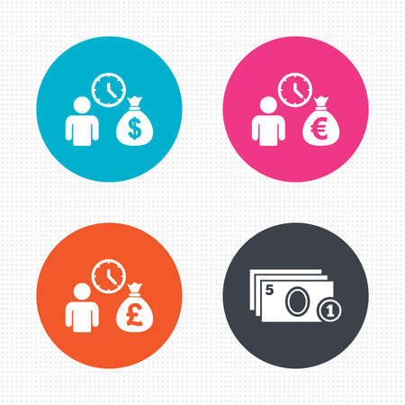 borrow: Circle buttons. Bank loans icons. Cash money bag symbols. Borrow money sign. Get Dollar money fast. Seamless squares texture. Vector