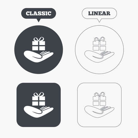 give a gift: Give a gift sign icon. Hand holds present box with bow. Classic and line web buttons. Circles and squares. Vector