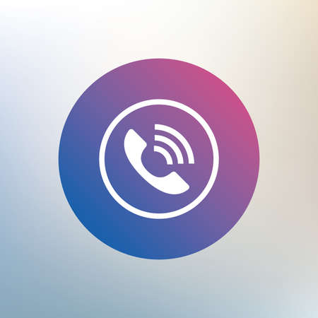 support center: Phone sign icon. Call support center symbol. Communication technology. Icon on blurred background. Vector