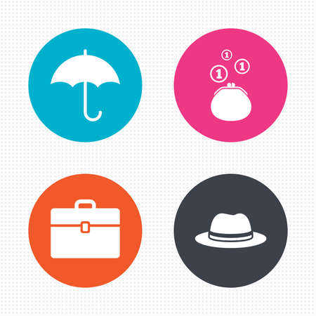 business case: Circle buttons. Clothing accessories icons. Umbrella and headdress hat signs. Wallet with cash coins, business case symbols. Seamless squares texture. Vector