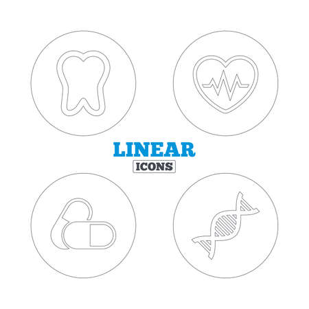 deoxyribonucleic acid: Maternity icons. Pills, tooth, DNA and heart cardiogram signs. Heartbeat symbol. Deoxyribonucleic acid. Dental care. Linear outline web icons. Vector