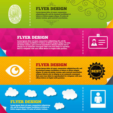 authentication: Flyer brochure designs. Identity ID card badge icons. Eye and fingerprint symbols. Authentication signs. Photo frame with human person. Frame design templates. Vector Illustration