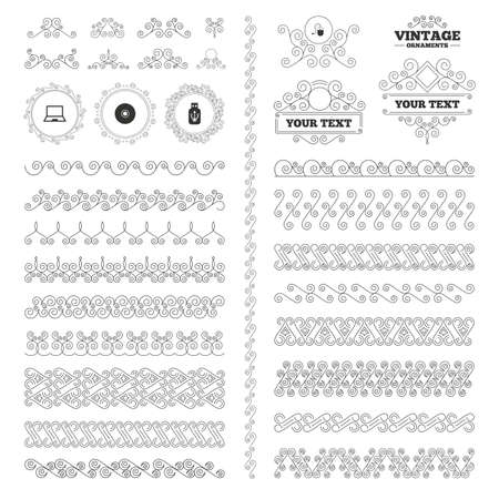 token: Vintage ornaments. Flourishes calligraphic. Notebook pc and Usb flash drive stick icons. Computer mouse and CD or DVD sign symbols. Invitations elements. Vector