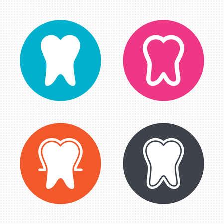 dientes sanos: Botones de círculo. Iconos de la protección del esmalte de los dientes. Signos del cuidado dental. Dientes sanos símbolos. Perfecta textura cuadrados. Vector Vectores