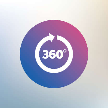 Angle 360 degrees sign icon. Geometry math symbol. Full rotation. Icon on blurred background. Vector Çizim