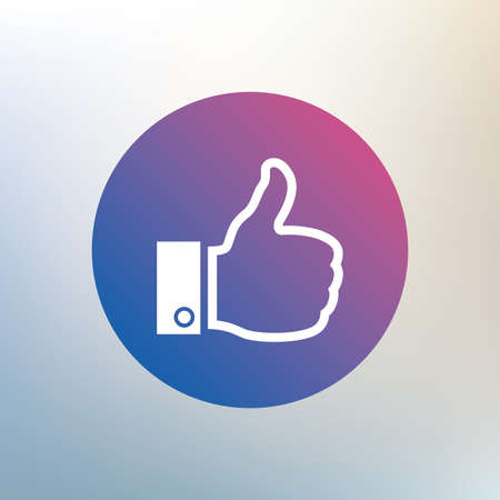 Like sign icon. Thumb up sign. Hand finger up symbol. Icon on blurred background. Vector