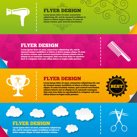blow drying: Flyer brochure designs. Hairdresser icons. Scissors cut hair symbol. Comb hair with hairdryer symbol. Barbershop winner award cup. Frame design templates. Vector