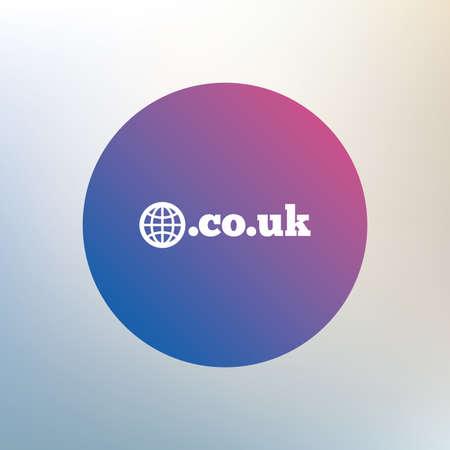 subdomain: Domain CO.UK sign icon. UK internet subdomain symbol with globe. Icon on blurred background. Vector Illustration