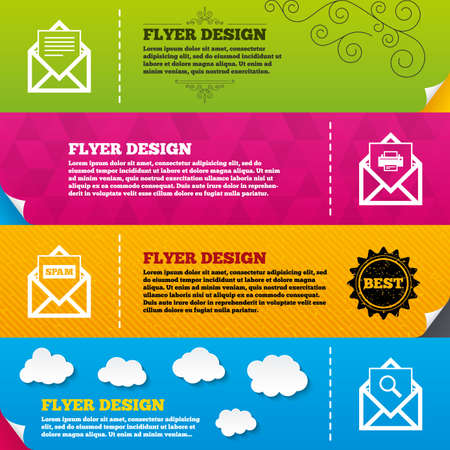 post office: Flyer brochure designs. Mail envelope icons. Print message document symbol. Post office letter signs. Spam mails and search message icons. Frame design templates. Vector Illustration