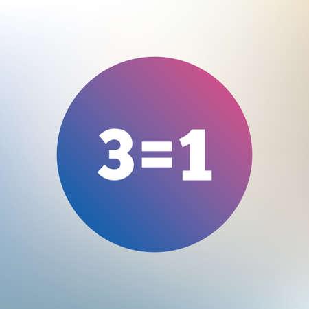equals: Drei f�r eine Zeichen-Symbol. Nehmen Sie drei Lohn f�r einen Verkauf-Taste. 3 gleich 1 Icon auf unscharfen Hintergrund. Vektor