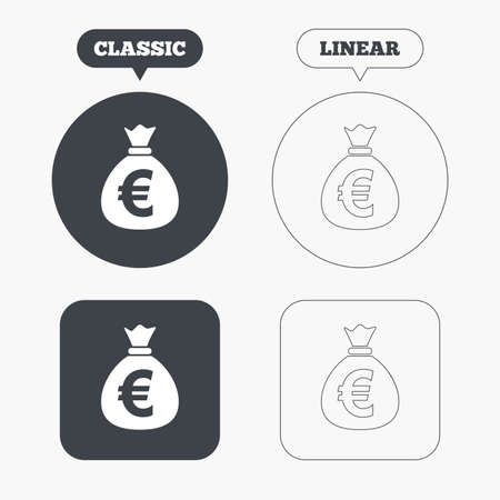 eur: Money bag sign icon. Euro EUR currency symbol. Classic and line web buttons. Circles and squares. Vector