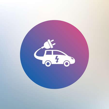 hatchback: Electric car sign icon. Hatchback symbol. Electric vehicle transport. Icon on blurred background. Vector