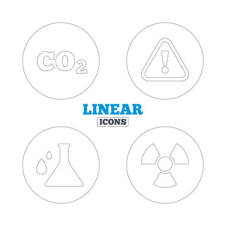 danger carbon dioxide  co2  labels: Attention and radiation icons. Chemistry flask sign. CO2 carbon dioxide symbol. Linear outline web icons. Vector