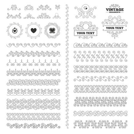 palpitation: Vintage ornaments. Flourishes calligraphic. Heart ribbon icon. Timer stopwatch symbol. Love and Heartbeat palpitation signs. Invitations elements. Vector Illustration