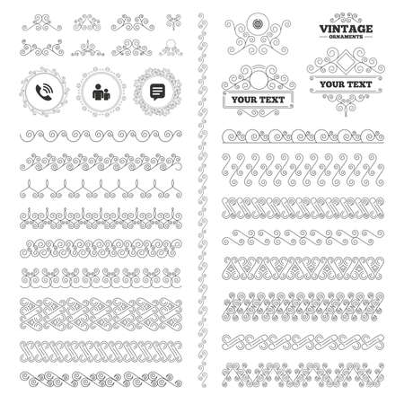 rang: Vintage ornaments. Flourishes calligraphic. Group of people and share icons. Speech bubble and round the world arrow symbols. Communication signs. Invitations elements. Vector