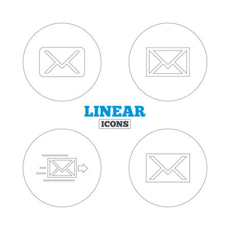 webmail: Mail envelope icons. Message delivery symbol. Post office letter signs. Linear outline web icons. Vector Illustration
