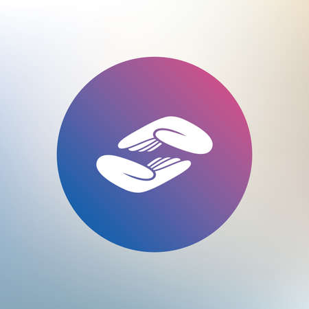 Helping hands sign icon. Charity or endowment symbol. Human palm. Icon on blurred background. Vector