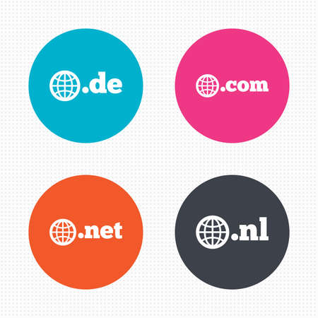 nl: Circle buttons. Top-level internet domain icons. De, Com, Net and Nl symbols with globe. Unique national DNS names. Seamless squares texture. Vector