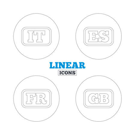 gb: Language icons. IT, ES, FR and GB translation symbols. Italy, Spain, France and England languages. Linear outline web icons. Vector