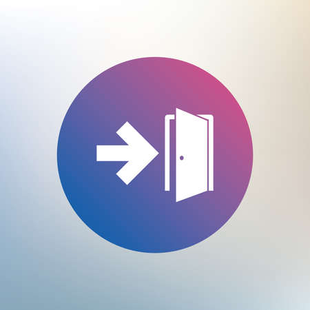 fire exit: Emergency exit sign icon. Door with right arrow symbol. Fire exit. Icon on blurred background. Vector Illustration