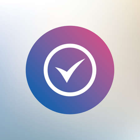 approved icon: Check mark sign icon. Yes circle symbol. Confirm approved. Icon on blurred background. Vector