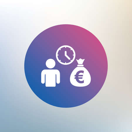 fast money: Bank loans sign icon. Get money fast symbol. Borrow money. Icon on blurred background. Vector