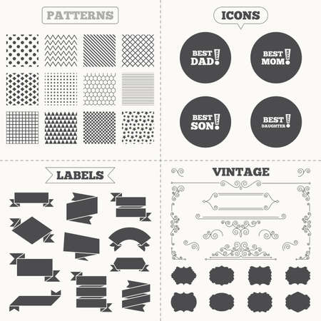 dad son: Seamless patterns. Sale tags labels. Best mom and dad, son and daughter icons. Awards with exclamation mark symbols. Vintage decoration. Vector Illustration