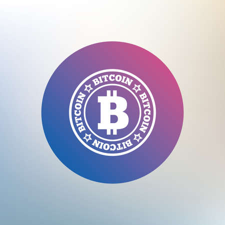 cryptography: Bitcoin sign icon. Cryptography currency symbol. P2P. Icon on blurred background. Vector