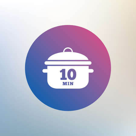 boil: Boil 10 minutes. Cooking pan sign icon. Stew food symbol. Icon on blurred background. Vector Illustration