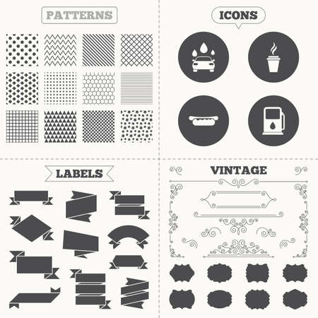 automated: Seamless patterns. Sale tags labels. Petrol or Gas station services icons. Automated car wash signs. Hotdog sandwich and hot coffee cup symbols. Vintage decoration. Vector