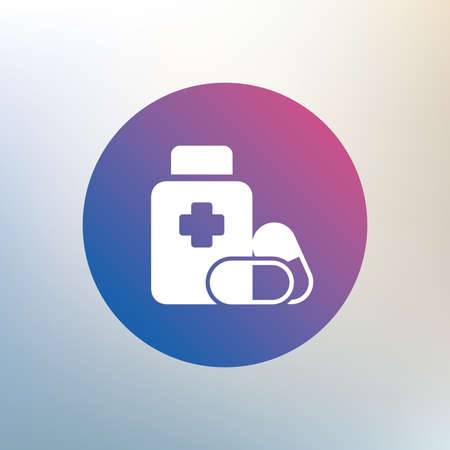 pills bottle: Medical pills bottle with cross sign icon. Pharmacy medicine drugs symbol. Icon on blurred background. Vector