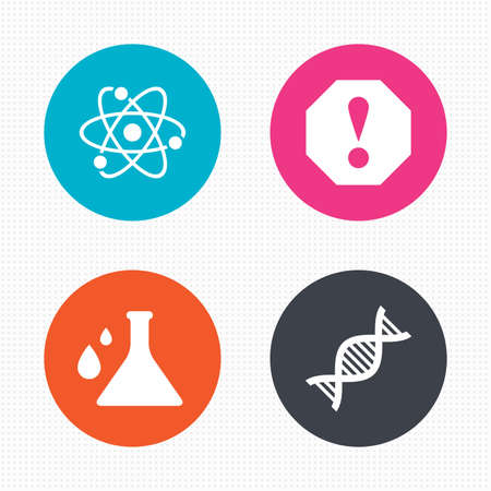 caution chemistry: Circle buttons. Attention and DNA icons. Chemistry flask sign. Atom symbol. Seamless squares texture. Vector Illustration