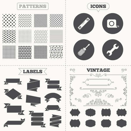 bubble level: Seamless patterns. Sale tags labels. Screwdriver and wrench key tool icons. Bubble level and tape measure roulette sign symbols. Vintage decoration. Vector Illustration