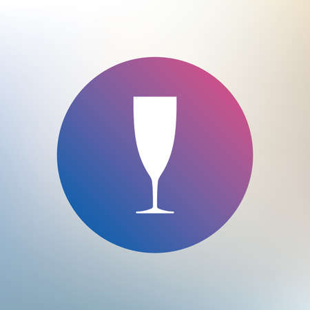 champagne celebration: Glass of champagne sign icon. Sparkling wine. Celebration or banquet alcohol drink symbol. Icon on blurred background. Vector Illustration