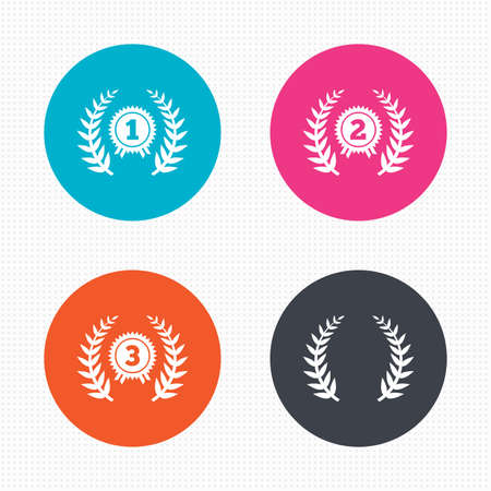 second prize: Circle buttons. Laurel wreath award icons. Prize for winner signs. First, second and third place medals symbols. Seamless squares texture. Vector Illustration