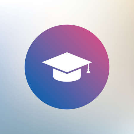 higher quality: Graduation cap sign icon. Higher education symbol. Icon on blurred background. Vector