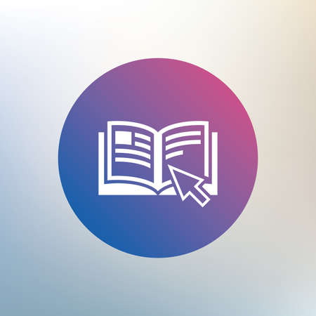 instru��o: Instruction sign icon. Manual book symbol. Read before use. Icon on blurred background. Vector Ilustra��o