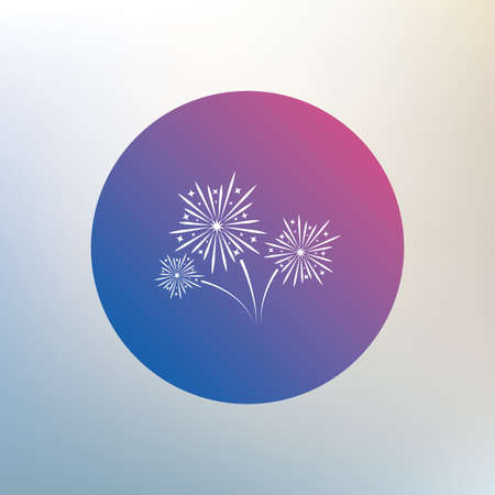 pyrotechnic: Fireworks sign icon. Explosive pyrotechnic show symbol. Icon on blurred background. Vector