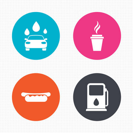 wash car: Circle buttons. Petrol or Gas station services icons. Automated car wash signs. Hotdog sandwich and hot coffee cup symbols. Seamless squares texture. Vector Illustration