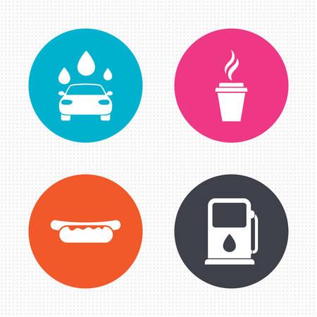 autolavaggio: Pulsanti di cerchio. Benzina o Gas station Servizi in icone. Automatizzati segni autolavaggio. Panino hotdog e simboli tazza di caff� caldo. Seamless piazze trama. Vettore