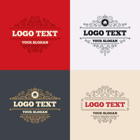 main: Royal flourishes calligraphic. Home sign icon. Main page button. Navigation symbol. Luxury ornament lines. Vector