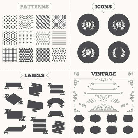 second prize: Seamless patterns. Sale tags labels. Laurel wreath award icons. Prize for winner signs. First, second and third place medals symbols. Vintage decoration. Vector Illustration
