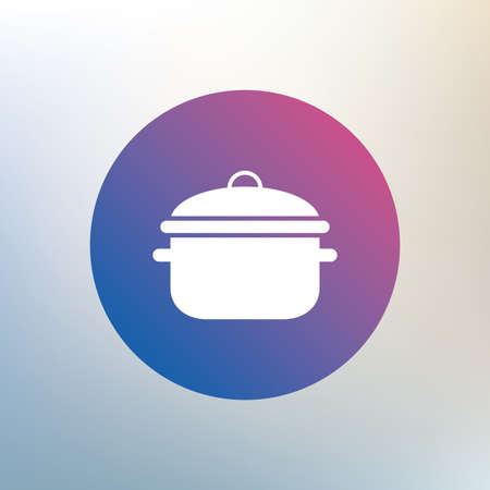 boil: Cooking pan sign icon. Boil or stew food symbol. Icon on blurred background. Vector