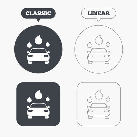 automated teller: Car wash icon. Automated teller carwash symbol. Water drops signs. Classic and line web buttons. Circles and squares. Vector Illustration