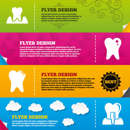 gingivitis: Flyer brochure designs. Dental care icons. Caries tooth sign. Tooth endosseous implant symbol. Parodontosis gingivitis sign. Frame design templates. Vector